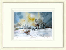 Oasts in the Snow - White Framed Leaflet Pic